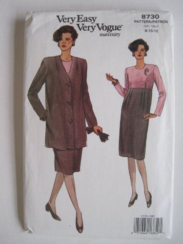 Vogue Pattern 8730 Misses' Maternity Jacket & Dress Sizes 8-10-12