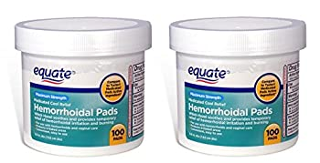 Equate -  Pack of 2  Hygienic Cleansing Pads Hemorrhoidal Vaginal Medicated Pads 100 Pads Each