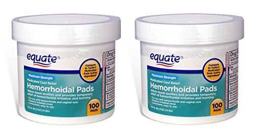 Equate - (Pack of 2) Hygienic Cleansing Pads, Hemorrhoidal Vaginal Medicated Pads, 100 Pads Each