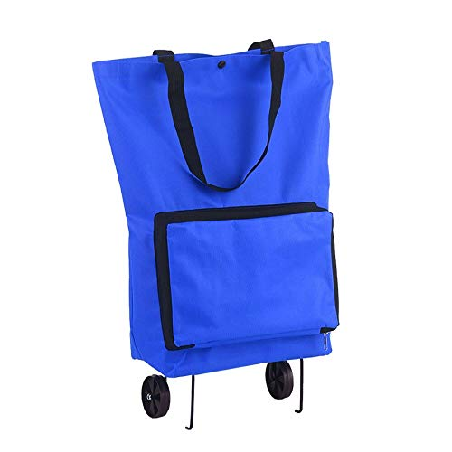 LULUVicky Shopping CartFoldable Shopping Trolley Bag With Wheels Collapsible Shopping Cart Suitable For Daily Use At Home (Size:760x410x160mm; Color:Blue)