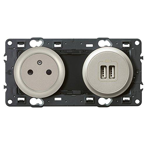 Legrand Céliane aardings-/twee stopcontacten, USB, 250 V Titanium.