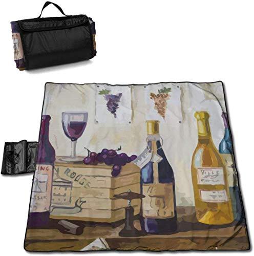 N/A grote waterdichte outdoor picknick deken aquarel wijn druiven flessen zanddichte strand Mat Tote voor camping wandelen gras reizen