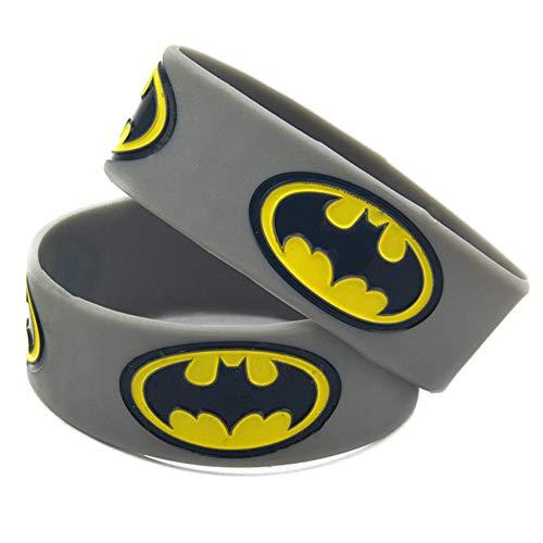HSJ 2 Unids 1 Pulgada Gris Batman Pulsera De Silicona con Película De Animación Pulsera De Comercio Exterior Perfectamente Inspira Fitness, Baloncesto, Búsqueda De Deportes, Ejercicio Y Tareas