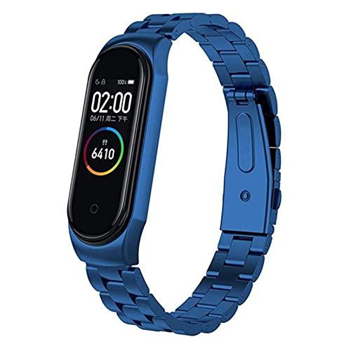 Reloj correas para la banda MI 4 / MI banda 3, correa de metal de acero inoxidable  Correa de reloj de acero *21798 (Band Color : Blue, Size : For mi band 3)