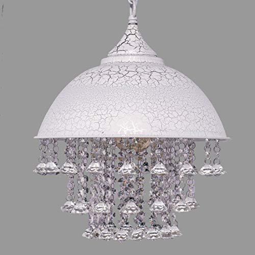 Lámpara De Techo, Blanco Lámpara Industrial Estilo Retro Herrumbre Hierro Forjado Sombra Brillante Cuentas De Cristal Lámpara Colgante Colgante Lámpara De Araña Con 1 Luz