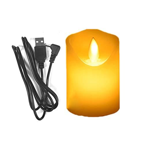 Abcidubxc Velas LED, 1 pieza Creative Wavy Side Flame Swing eléctrico parpadeante...