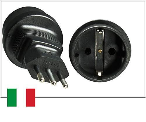 DINIC Reisestecker, Stromadapter Stecker Italien auf Schutzkontakt-Buchse, Netzadapter 3-polig IT (1 Stück, schwarz)