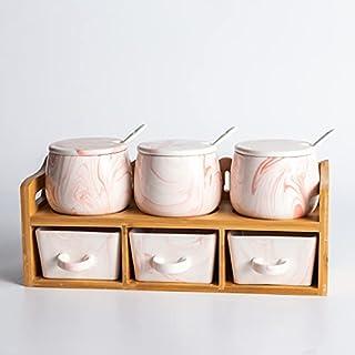 PPuujia Lot de 6 pots à épices en céramique pour assaisonnement, double assaisonnement en marbre gris