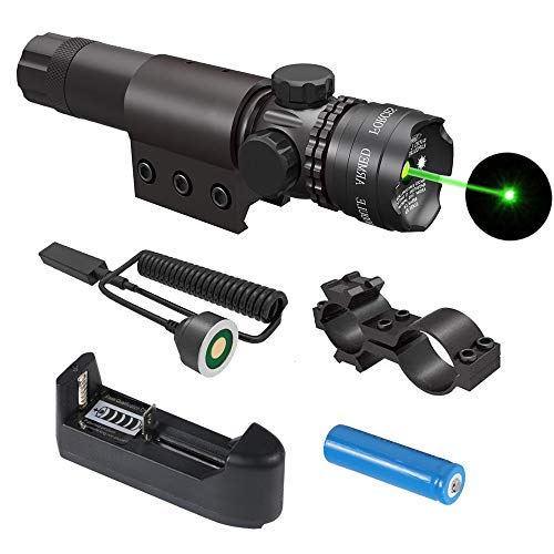 Gogoku Tactical Green Laser Sight with Rail Mount, Scope Mount, Rechargeable Battery, Charger & Cable Switch
