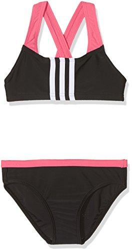 adidas Mädchen 3-Streifen Bikini, Black/Real Pink, 116