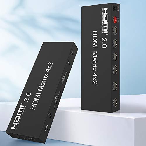 Ippinkan HDMI Matrix 4 entradas x 2 Salidas HDMI Mando a Distancia ARC Audio, SPDIF óptico y 3,5 mm, Stereo, Dolby 5.1 Surround Compatibilidad Full HD, 3D,4K*2K, HDMI 2.0