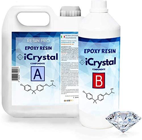I-CRYSTAL RESINA EPOXI 3,2 Kg. Para Manualidades y piezas pequeñas, mezclas de 100gramos y hasta 0.5 cm de grosor mejor calidad/precio,