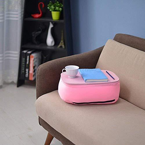 WGG Tafel Thuis Bamboe Lap Bureau met Laptop Opbergruimte | Kussen Gewatteerde Laptop Accessoires Boekstandaard | Geweldig voor Bed Bank Bank Stoel | Voedsel dienblad | Grijs roze