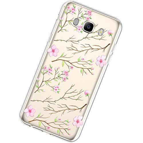 Funda Compatible con Samsung Galaxy J5 2016,Carcasa Transparente Creativo Flores Diseño Patrón...