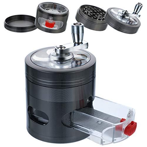 BFACCIA Gewürzmühle, Grinder Crusher, Metall Grinder Salzmühle Pfeffermühle für getrocknete Gewürze, Kräuter, Spices, 12+24 Doppelkeil-scharfe Metallschleifzähne (Schwarz)