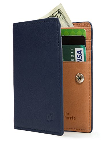 PREMIUM SKINNY Slim Bifold Leather Multi-Card Men Wallet Holder Best for Cash Money, ID, Credit Cards – Navy Blue