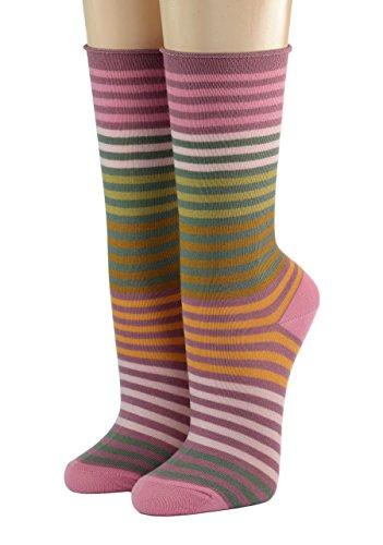 CRÖNERT Socken Longsocks Söckchen im Design Multiringel 18802 (35/38, rosa)