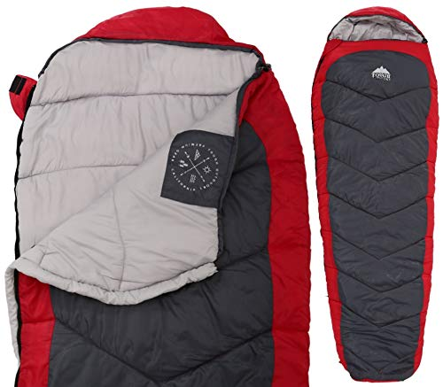 """All Season XL Mummy Sleeping Bag - Perfect for Camping, Hiking, Backpacking & Travel. Comfort Temperature Range of 32-60°F. Fits Adults up to 6'6"""". Tough Ripstop Waterproof Shell & High-Loft Fill"""