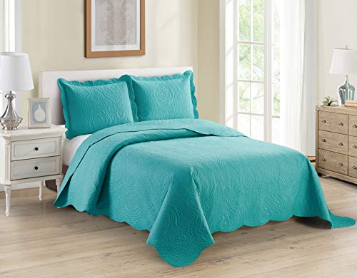Home Collection 3pc King/Cal King Over Size Luxury Embossed Bedspread Set Light Weight Solid Turquoise New