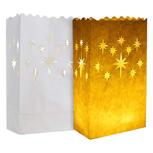 20 pcs White Luminary Bags, Candle Bag with Stars Design, Durable and Reusable Fire-Retardant Cotton Material Paper Lantern Bags for Wedding Valentine Reception Engagement Marriage Proposal Event