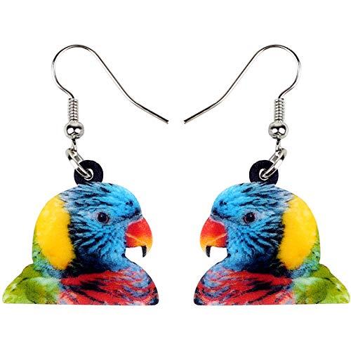 Pendientes de acrílico arcoíris arcoíris Loro Loro pájaro para Mujeres niñas Glamour Multicolor Colgante Largo Grande joyería de Animales