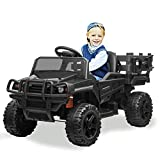 Kidsclub Ride on Tractor with Trailor, 12v Power Wheel Ride-on Truck for kiddo, Rechargeable Battery Powered Electric Vehicle, Toddler Riding Truck Toy with Remote Control, Music, Light & Radio(Black)