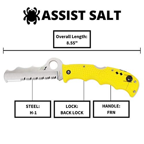 """Spyderco Assist Salt Folding Knife with 3.68"""" H-1 Corrosion-Resistant Stainless Steel Blade and Lightweight Yellow FRN Handle - SpyderEdge - C79PSYL"""