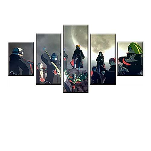HOMOPK canvas foto's poster druk canvas afbeelding 5 stuks muurschildering kunst modulaire animatie Naruto klassieke HD poster schilderij jongen kamer decoratief muurschildering geschenk 40x60cmx2 40x80cmx2 40x100cmx1 Frameloos.