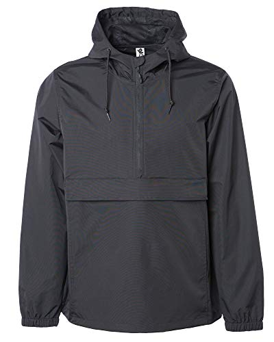 Global Mens Hooded Lightweight Windbreaker Rain Coat Waterproof Jacket Pocket (Black, Large)