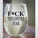 Copa de vino sin tallos de cristal FCK Este año entero, vaso de chupito de whisky grabado, perfecto para padre, madre, niño o novia, amiga