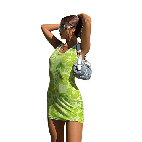 Women's Sexy Boho Mini Dresses Y2K Vintage E-Girls 90s Slim Fit Bodycon Dress Heart/Butterfly Print Spaghetti Strap Camisole Sleeveless Summer Streetwear (Green Flower, S)