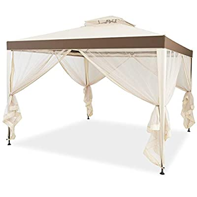 Tangkula 10'x 10' Canopy Gazebo Tent Shelter Art Steel Frame Garden Lawn Patio House Party Canopy Home Patio Garden Structures Gazebos W/Mosquito Netting (Beige)