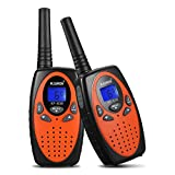 FLOUREON Intercomunicador inalámbrico de Radio bidireccional walki talki con Pantalla LCD Naranja