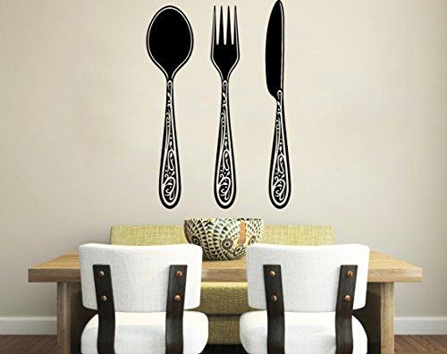 Wandtattoo Messer, Gabel, Löffel, Besteck, Cafe, Vintage-Design, für Küche, Esszimmer, Vinyl, Wanddeko, verschiedene Home Interior Design-Kunst