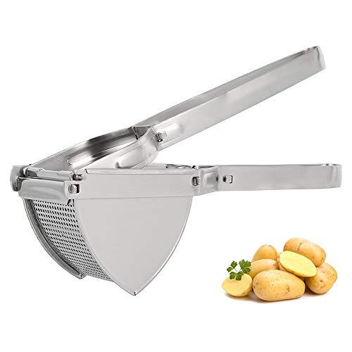 Large Potato Ricer Masher, Professional Stainless Steel Heavy Duty Masher Press Tool for Baby Food Puree Fruit Vegetable Maker, Squeezing Lemon Fruit Juicer, Dishwasher Safe