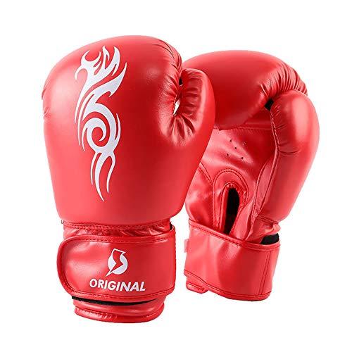 Guantes de Boxeo para Niños Adultos Guantes de Entrenamiento de Competición de Fitness Guantes de Combate Profesionales para Kickboxing, Muay Thai, MMA,Red,12oz