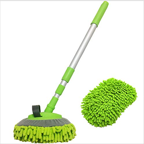 3-in-1 Wash Mop Mitt 180 Rotation, Extendable Car Wash Brush Kits Mop with Long Handle, Rotating Car Washing Brush Cleaning Mop with Microfiber Car Wash Mop Replacement Head (Green)