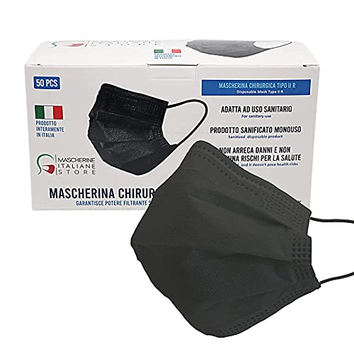 Mascherina Chirurgica Nera 3 strati, Mascherina Chirurgica italiana di tipo II R Certificata CE 100% Made in Italy - Confezione 50 pezzi (Nero)