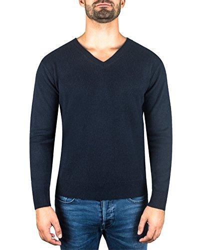CASH-MERE.CH 100% Kaschmir Herren Pullover | Sweater V-Ausschnitt 2-fädig (Blau/Marine, XL)