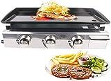 NBVCX Utensili da Esterno Griglie per Barbecue a Gas GPL Plancha 7500W Giardino 3 fuochi Manzo Maiale Pollo Cottura a casa Piastra Antiaderente Utensili per Barbecue Griglie per Esterni