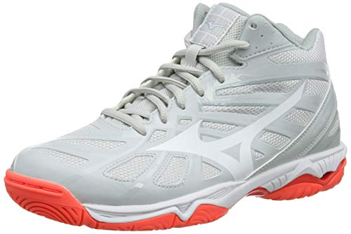 Mizuno Unisex Wave Hurricane 3 MID Volleyballschuhe, Grau Glaciergray Dark Shadow Fiery Coral 60, 39 EU