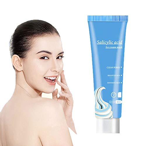 YEKONG 60ml Salicylic Acid Ice Cream Mask,Salicylic Acid Ultra Cleansing Mask Ice Cream Mask Moisturizing Smear Mask Blackheads Remover Cleansing & Shrinking Pores for All Skin Types (1PC)