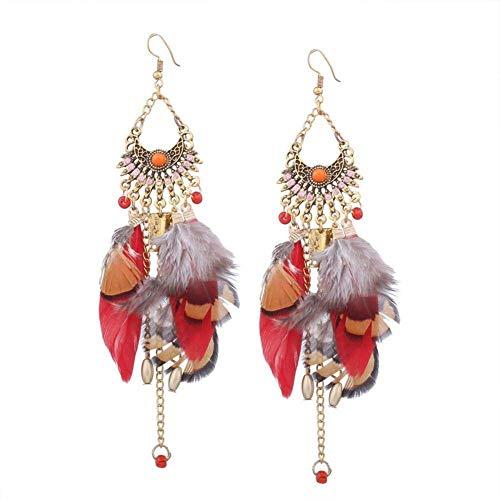Ohrringe Bommel Feder Vintage Ohrringe Boho Feder Lange Ohrringe mit langen Tropfen drei Styles Geschenk Damen