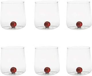 Zafferano Bilia Tumbler en Verre - Verre Transparent Fait Main, Décoré d'une Boule de Verre Coloré à L'Intérieur, cl 44 h ...