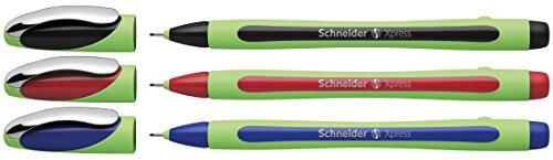 Schneider Xpress Fineliner (0,8 mm) 3er Etui schwarz/rot/blau
