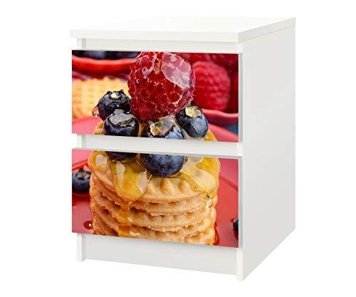 Set Möbelaufkleber für Ikea Kommode MALM 2 Fächer/Schubladen Nachtisch Dessert Himbeere Kekse Kat8 Küche Aufkleber Möbelfolie sticker (Ohne Möbel) Folie 25F402
