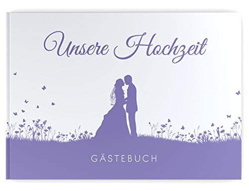 DeinWeddingshop Gästebuch Hochzeit Brautpaar, ohne Fragen blanko Hardcover hochwertig,...