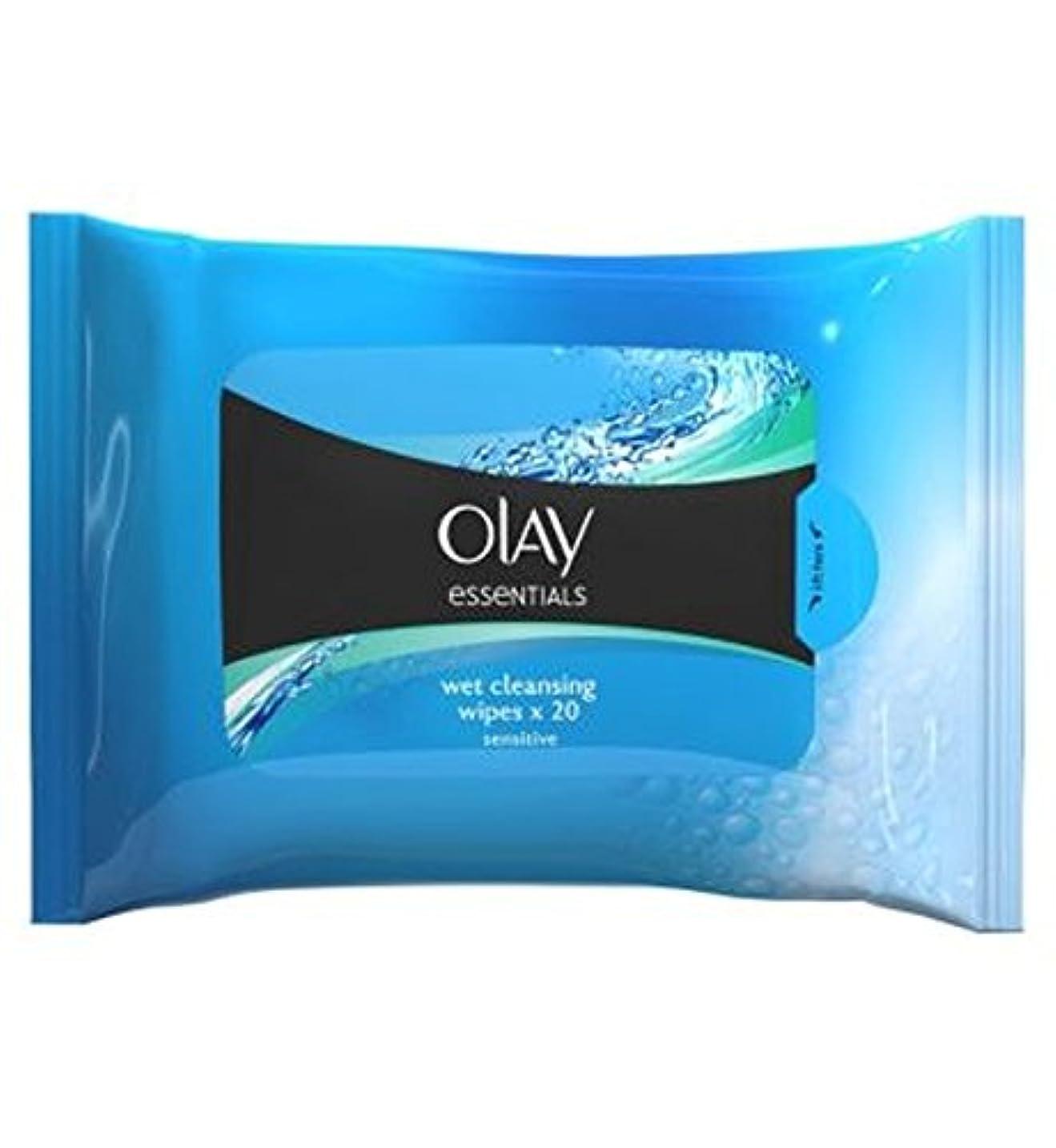 拒絶それからリブOlay Essentials Facial Sensitive Cleansing Wipes in Resealable Pouch x20 - 顔の敏感なクレンジングは、再シール可能なポーチX20にワイプオーレイの必需品 (Olay) [並行輸入品]