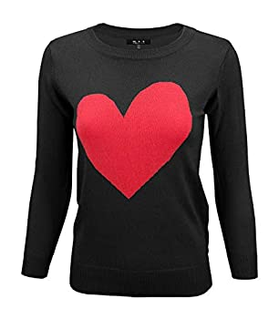 YEMAK Women s Love Heart Chenille Crewneck 3/4 Sleeve Casual Pullover Sweater MK3595-BLK/RED-L