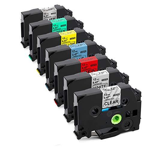 Upwinning kompatibel Schriftbänder als Ersatz für Brother P-touch TZe-231 TZ 12mm 0.47 Laminiert Farbe Bänder, TZe Schriftband Schwarz auf Transparent/Weiß/Rot/Blau/Gelb/Grün/Silber, 7x